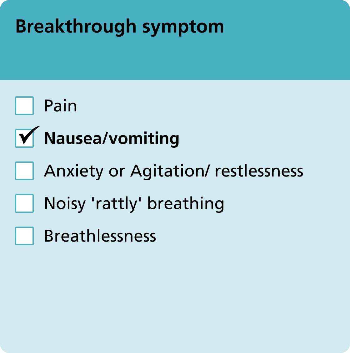 Breakthrough symptom